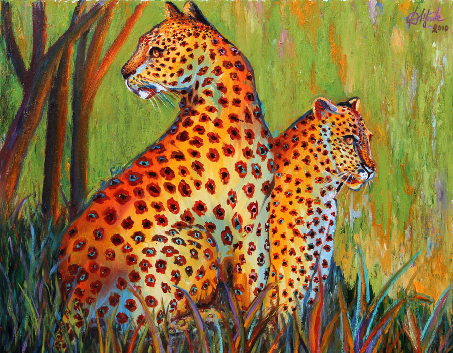 Oil painting, artwork - Leopards - Irina Daylene