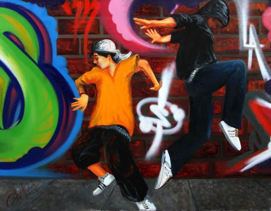 Oil painting, artwork - Break Dancers - Irina Daylene